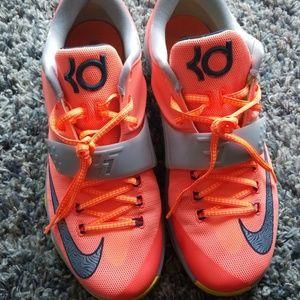 Men's Nike Neon Orange and Grey KD VII Size 10.5